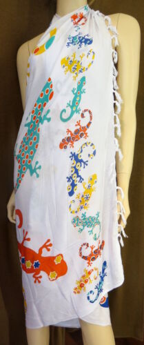 Sarong Pareo Wickelrock Strand Tuch Wandtuch Gecko Bunt Stola Schals Damenmode