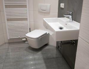 Cut Sample 17 89m2 Concrete Grey High Gloss Porcelain Tiles 60x60 Wall Floor Ebay