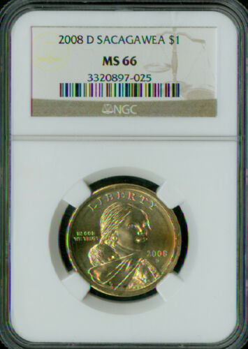 2008-D SACAGAWEA DOLLAR NGC MS66 BUSINESS STRIKE LOW MINTAGE *