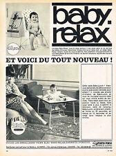 PUBLICITE ADVERTISING 015  1965  BABY RELAX   siège bébé chaise de table