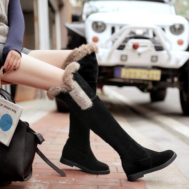 Stiefel Schenkel Damenschuhe Absatz 5 cm Schwarz Hoch Komfortabel Leder