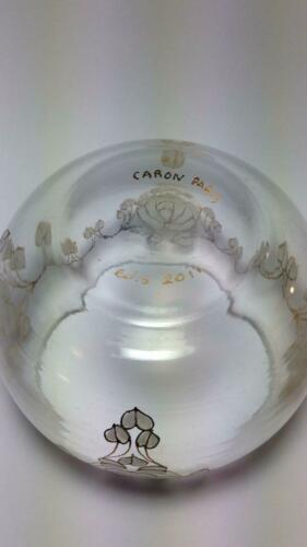 CARON Paris Glass Schale mit goldene Rosen Hand Made Vintage  HUvYr 13mbZ