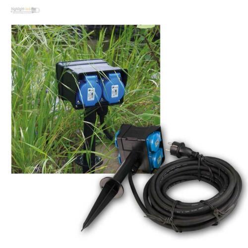 Jardin Prise de courant 2//4 positions avec piquet ip44 Extérieur-Prise de courant Outdoor-électricité-Boîte