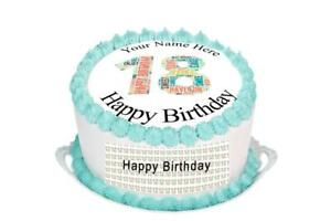Awesome 18Th Birthday Cake Topper Rice Paper Icing Personalised Cake Funny Birthday Cards Online Bapapcheapnameinfo