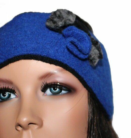 Y) señora cinta del pelo + guante lana azul royal azul negro Berlín sammer nuevo