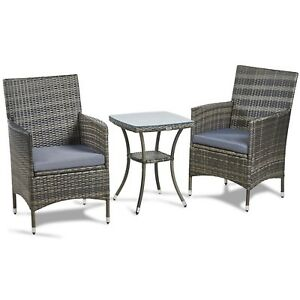 Image Is Loading VonHaus 3 Piece Rattan Bistro Set Outdoor Glass