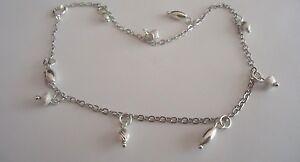 Generous 925 Sterlingsilber Knöchel Baracelet W Fine Anklets Sorte Form Diamantschliff Charms 25.4cm Chills And Pains
