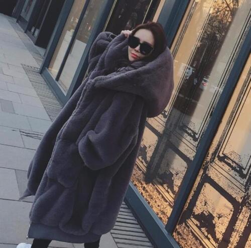 Hood pelsjakke ægte Coat Long Hooded Kvinders Loose Thicken Winter Warm pzC5wCqSx