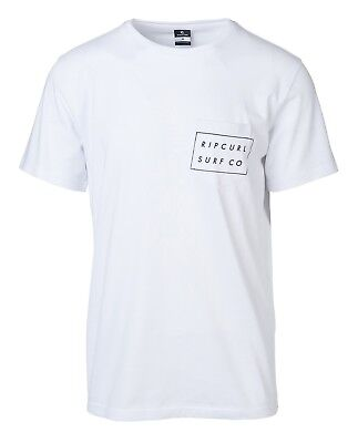 RIP CURL MENS T SHIRT.NEW RIP SURFCO COTTON POCKET WHITE SURF TEE TOP 8S K5 3262