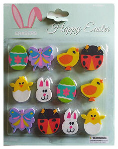 MOMENTUM 12pc Set HAPPY EASTER ERASERS Eggs+Chicks+Bunnies+Butterfly+Ladybug NEW