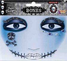 Bones Day of the Dead Cosplay Glitter Face Design Makeup Costume Tattoo Art