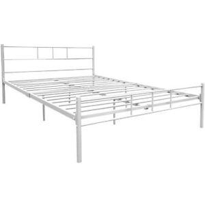 Dorset-4ft6-Double-Size-Bed-White-Steel-Metal-Frame-Modern-Bedroom-Furniture