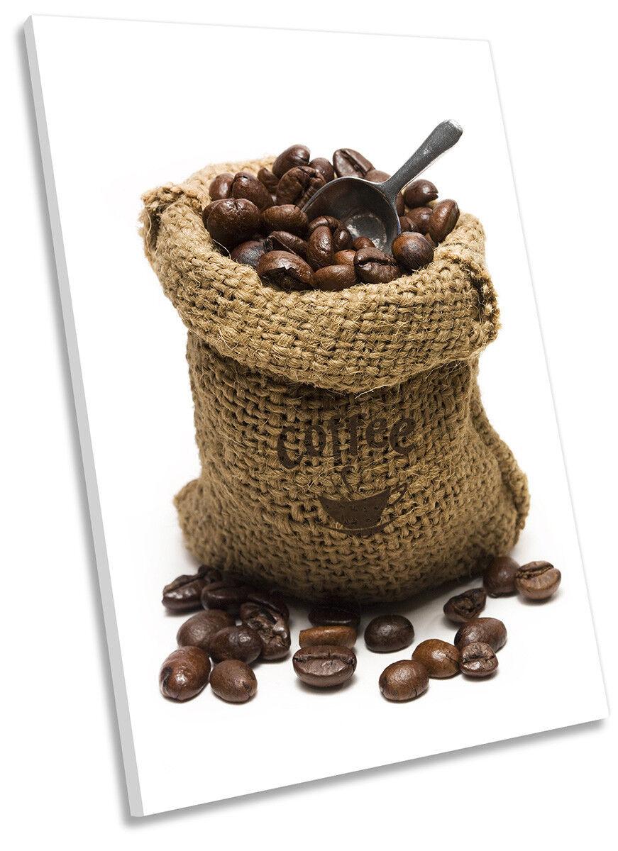 Coffee Beans braun Sack Picture CANVAS WALL ART Portrait Print