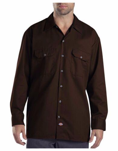 Dickies Mens Dark Brown Long Sleeve Work Shirt Uniform Button Up Casual 574