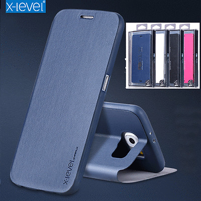 Luxury X-Level Ultra-thin Stand Leather Flip Business Cover Case For Samsung