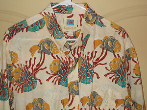 Kahala-Aloha-Hawaiian-Shirt-Mens-L-Lionfish-USA-Short-Sleeves-Button-Collar-5H1
