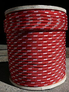 """Sailboat Rigging Rope 3/8"""" x 100' Red/White Double Braided Sheet Halyard Line"""