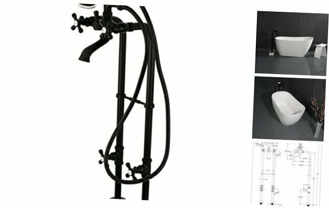 CCK266K0 Freestanding Tub Faucet with Supply Line, Stop Valve and Matte Black