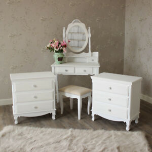 White Wooden Bedroom Set Dressing Table Mirror Stool Drawers Shabby ...