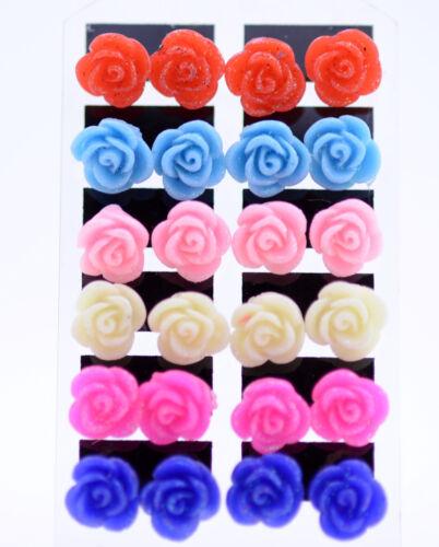 Pretty resin rose earrings 50s 60s 70s multiple colours retro