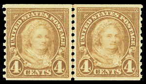 Scott 601 1923 4¢ Martha Washington Coil Issue Joint Line Pair F-VF NH Cat $55