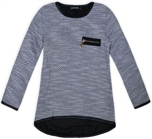 Girls New Lightweight Plain Knitted Jumper Kids Long Sleeved Top Ages 2-12 Years