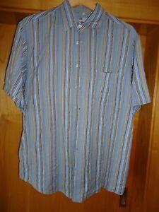 Herrensommerhemd-Freizeithemd-Hemd-hellblau-gelb-weiss-gestreift-Kurzarm-Groesse-L