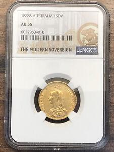 1888S Queen Victoria Full Gold Sovereign - Sydney Mint - AU55 NCG Grade