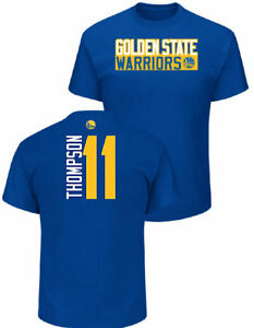 purchase cheap bb674 916d1 Details about Klay Thompson Golden State Warriors Mens Royal Vertical Short  Sleeve T Shirt