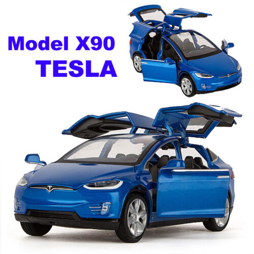 1:32 Tesla Model X 90D SUV Diecast Model Car Sound/&Light Pull Back Toy Blue