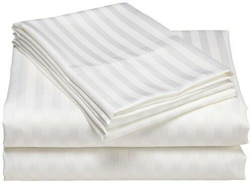 New 1 Qty Duvet Cover 1000 Thread Count Egyptian Cotton White Stripe