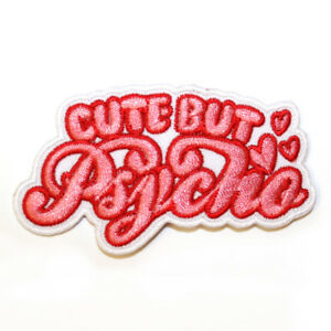 Cute-But-Psycho-Iron-On-Patch-Embroidered-Sew-On-Funny-Pink