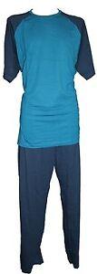 T Navy Spionaggio e Blue Jersey Pajamas Long Shirt Teal pantaloni Cotton H4p6v4qwg