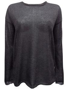 womens ellos black metallic sparkle 16//18 split back hip length jumper top