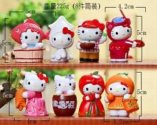 8pcs 2016 New Hello kitty Fruit Resin KT Cat Figure Toy Gift Furnishing articles