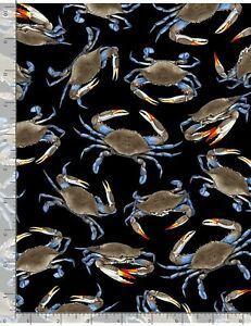 Blue-Crabs-on-Black-B-G-Timeless-Treasures-BTY