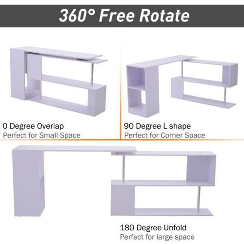 Large Corner Desk L Shape Adjustable White Computer Workstation Office Modern