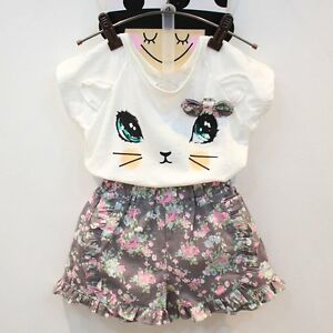 64860f776 2PCS Kids Baby Girls Summer Outfits Clothes T-shirt Tops+Floral ...