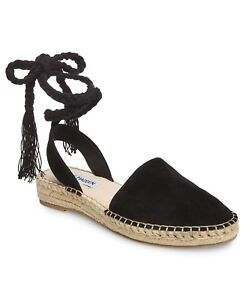 Steve-Madden-MESA-Women-039-s-Espadrille-Strappy-Lace-Up-Sandals-Flats-Black-US-7-5
