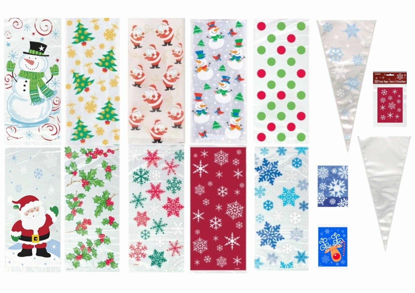 20 BLUE SNOWFLAKES Christmas Frozen Party Cello Cellophane Sweet Childrens Bags
