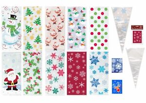 Christmas Cellophane Bags.Details About Christmas Cello Bags Xmas Cellophane Gift Party Frozen Treat Cone Kids Sweets