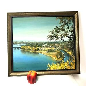 Vintage-Signed-Korean-Oil-On-Canvas-Painting-of-Mountain-River-Landscape