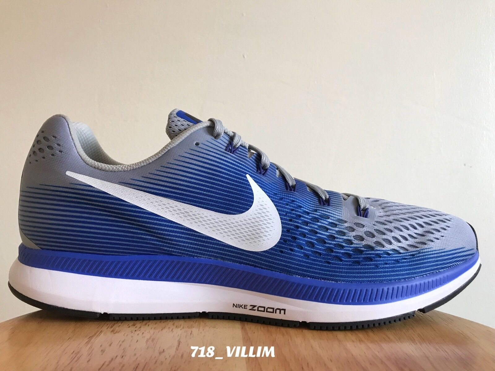 NIKE AIR ZOOM PEGASUS 34 WOLF GREY WHITE RACER BLUE 880555 007 SIZE 14 BRAND NEW