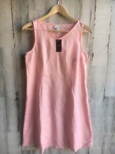NWT-89-J-Jill-100-Linen-Ballet-Slip-Pink-Shift-Dress-Pockets-Petite-XS-PXS