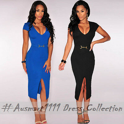 Short Cap Sleeve V Neck Split Midi Black Dress Formal Office Casual Party Wear