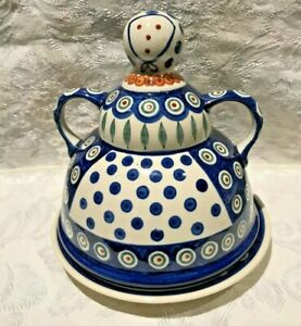 Polish-Pottery-Large-Cheese-Lady-Server-with-Plate-New-FREE-SHIPPING