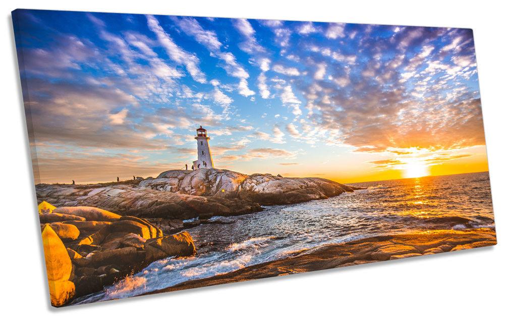 Lighthouse Seascape Sunset Framed PANORAMIC CANVAS Drucken Wand Kunst