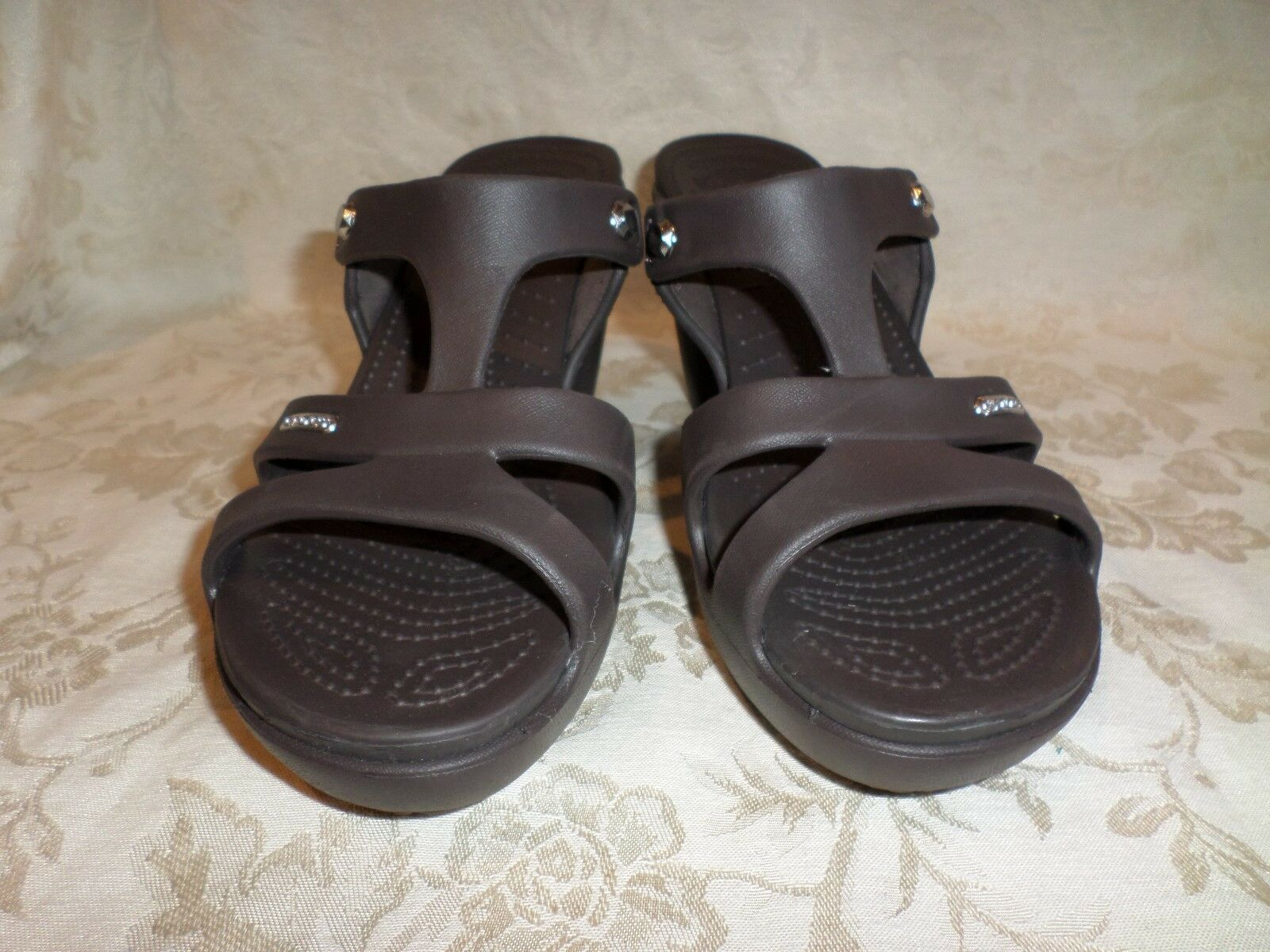 Crocs Cyprus V Espresso Brown Brown Brown Croslite Slide Platform Heel NWOB 10 M Rare b317ac