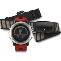 Garmin Fenix 3 Multisport Training GPS Watch w/ Heart Rate Monitor Silver w/ Red Band