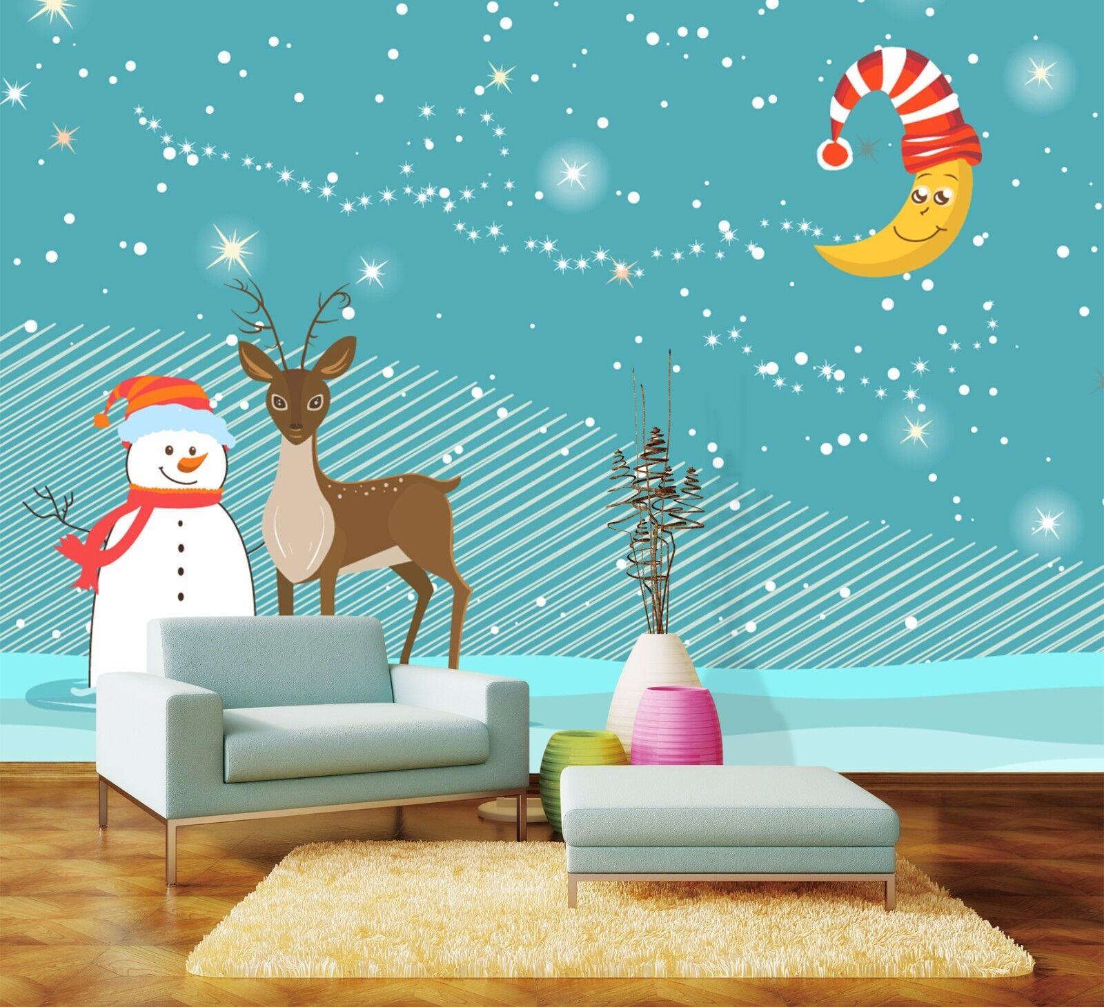 3D Deer Snowman Moon 7 Wall Paper Murals Wall Print Wall Wallpaper Mural AU Kyra
